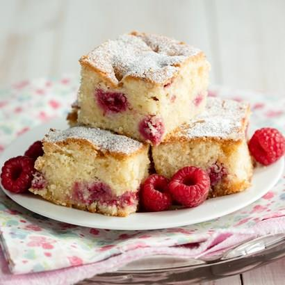 Raspberry and White Chocolate Tray Bake