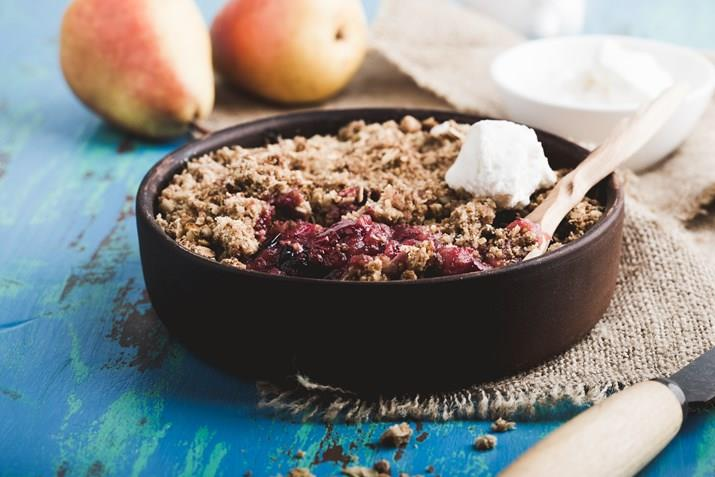 Blackberry, Pear and Almond Crumble